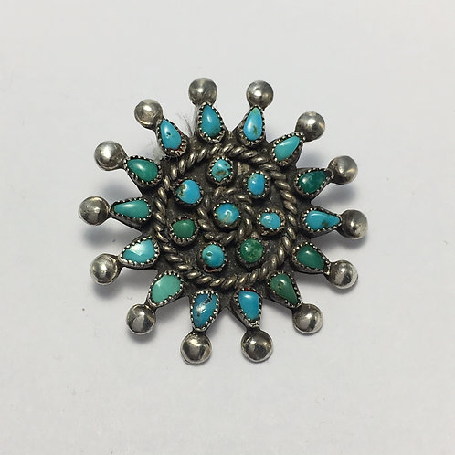 Zuni Sterling Silver Vintage Turquoise Cluster Pin Brooch
