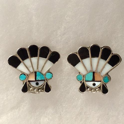 Zuni Sterling Silver Sunface Vintage Earrings Clip-On