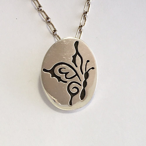 Hopi Sterling Silver Butterfly Pin Pendant