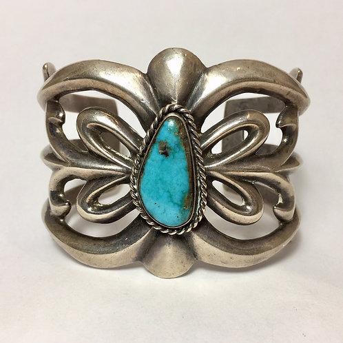 Navajo Sterling Silver Sandcast Turquoise Cuff Bracelet