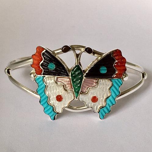 Zuni Sterling Silver Butterfly Cuff Bracelet