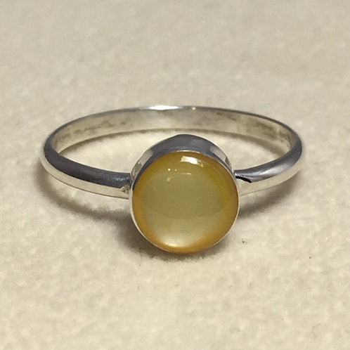 Zuni Sterling Silver Gold Mother of Pearl Ring