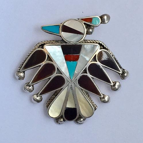 Zuni Sterling Silver Thunderbird Inlay Vintage Pin Pendant