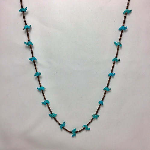 """Zuni Handmade 19 Turquoise Turtle Fetish Heishi Necklace 28"""""""