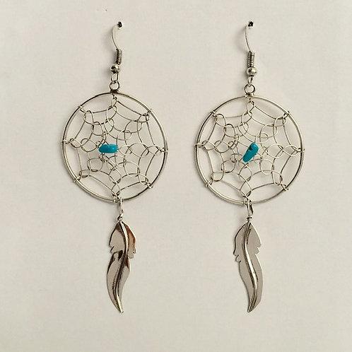 Navajo Sterling Silver Dream Catcher Feather Earrings