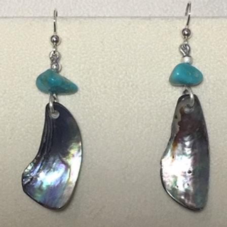 Navajo Turquoise & Abalone Shell Hook Earring
