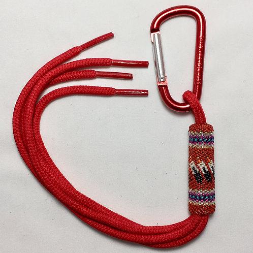 Navajo Hopi Handmade Beaded Red Nylon Key Chain