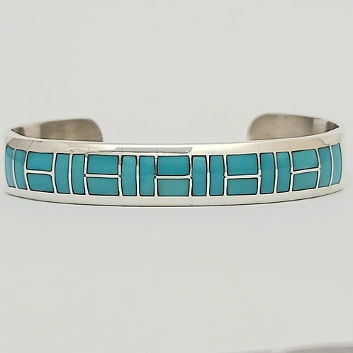Zuni Sterling Silver Turquoise Channel Inlay Bracelet