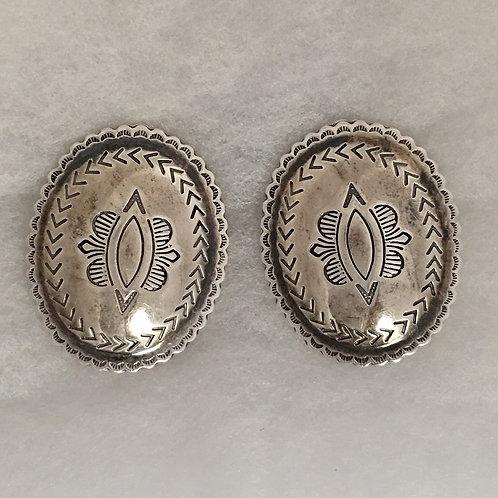 Navajo Sterling Silver Stamp Vintage Earrings Clip-On