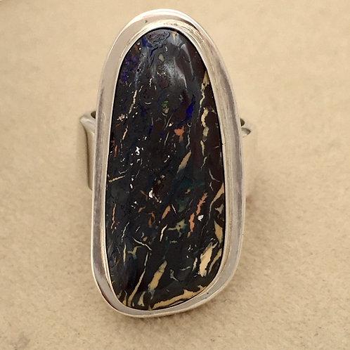 Navajo Sterling Silver Australian Boulder Opal Ring