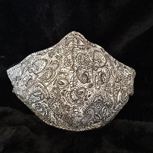 Handmade White Paisley Design Face Mask