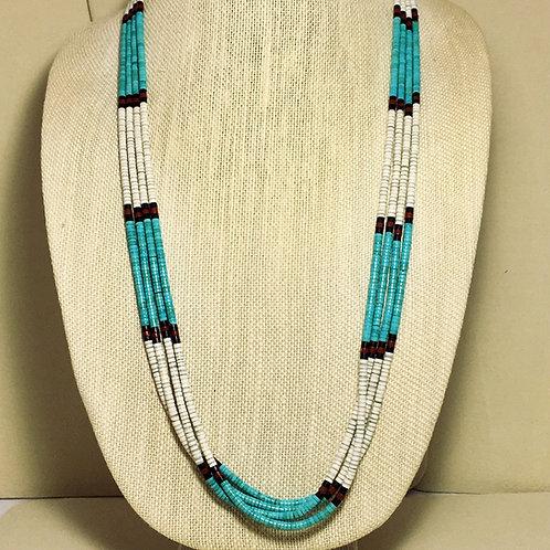 Santa Domingo 4 Strand Turquoise White Shell Necklace