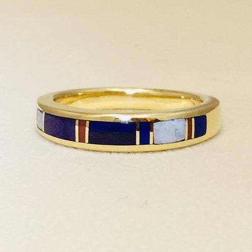 Navajo 14k Gold Coral Lapis Opal Ring
