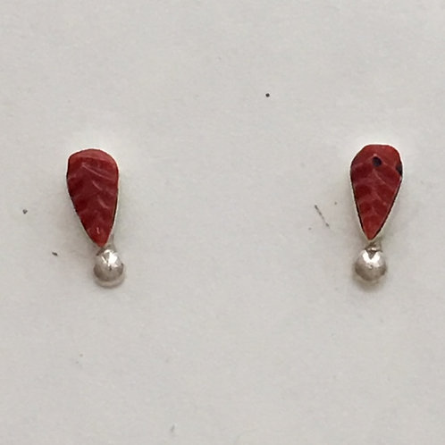 Zuni Sterling Silver Coral Leaf Post Earrings