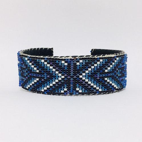 Navajo Beaded Feather Blue Cuff Bracelet