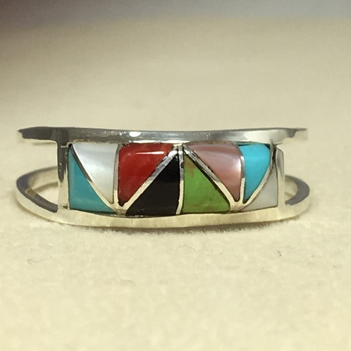 Zuni Sterling Silver Gaspeite Jet Turquoise Ring