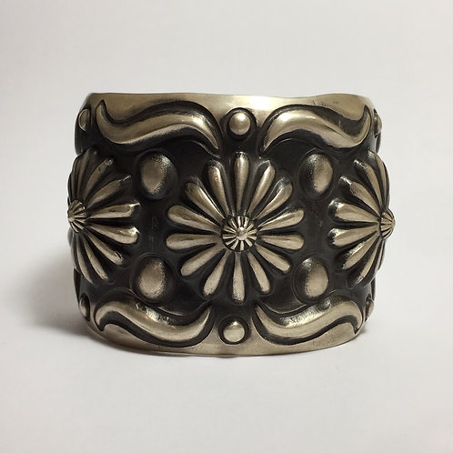 Navajo Sterling Silver Repousse Stamp Cuff Bracelet