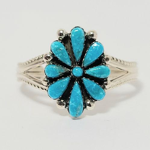 Zuni Sterling Silver Turquoise Baby Bracelet Bevis Tsadiasi