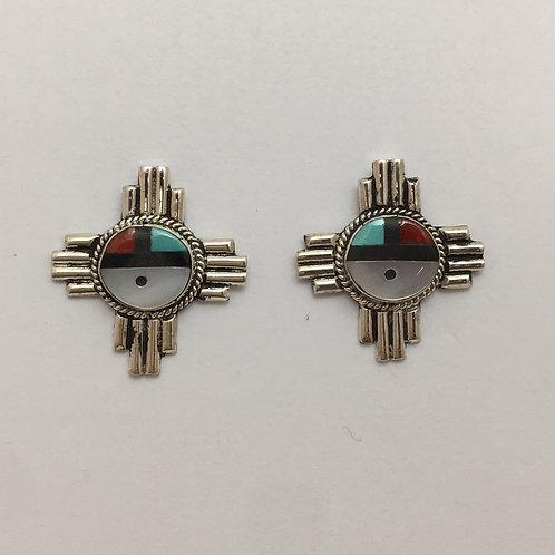 Zuni Sunface Zia Earrings
