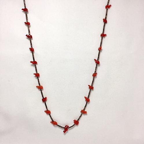"Zuni Handmade 21 Coral Bear Fetish Heishi Necklace 29"""