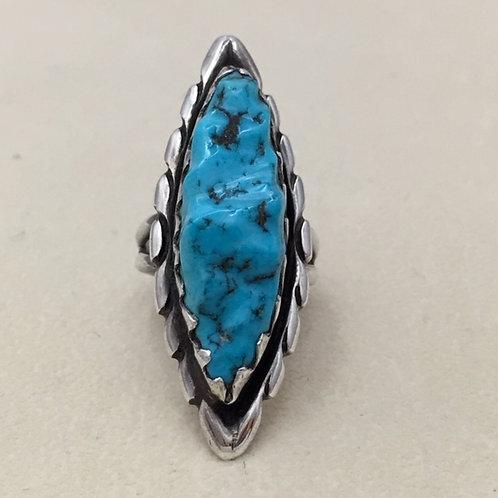 Zuni Sterling Silver Kingman Turquoise Ring