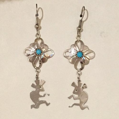 Navajo Sterling Silver Kokopelli Turquoise Hook Earrings