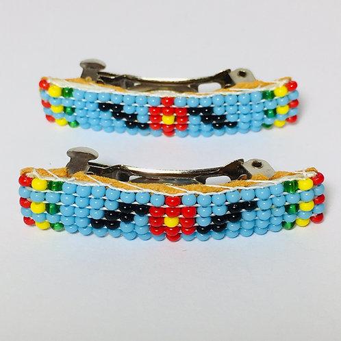 Navajo Handmade Flower Beaded Design Barrette Set