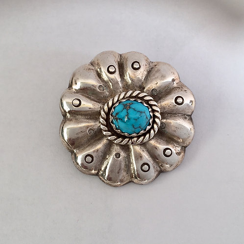 Navajo Sterling Silver Sandcast Turquoise Pin Brooch