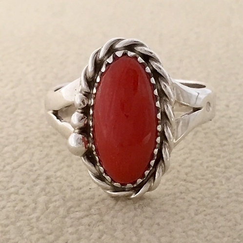 Zuni Sterling Silver Coral Ring
