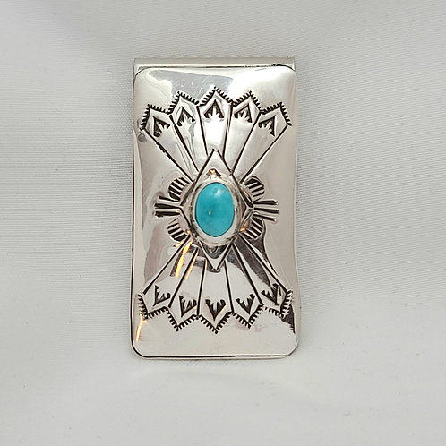 Navajo Sterling Silver Turquoise Stamp Money Clip