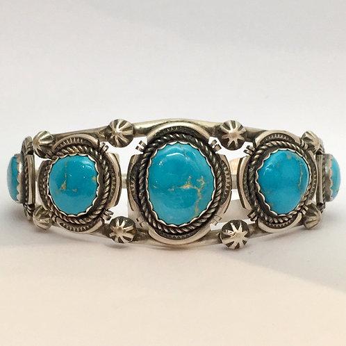 Navajo Sterling Silver Sleeping Beauty Turquoise Cuff Bracelet