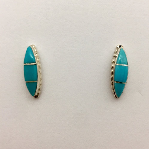 Zuni Turquoise Inlaid Post Earrings
