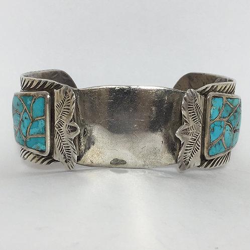 Zuni Sterling Turquoise Vintage Watch Band Bracelet
