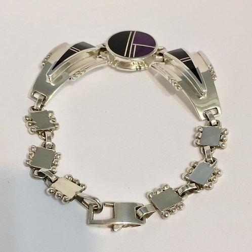 Navajo Sterling Silver Sugelite Inlay Link Bracelet