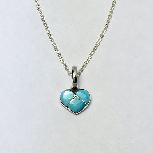 Zuni Sterling Silver Turquoise Heart Inlay Pendant