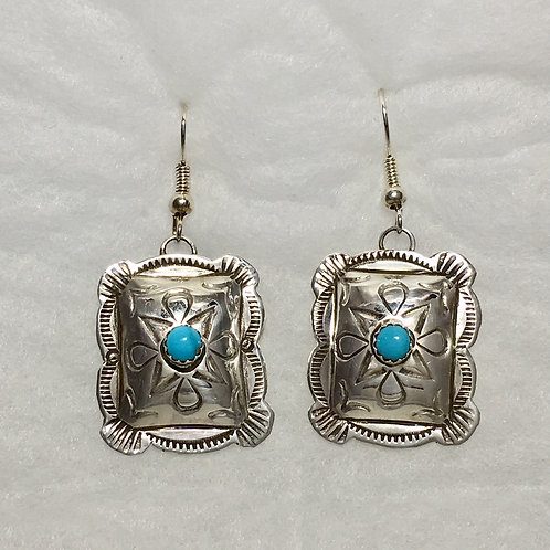 Sterling Silver Concho Turquoise Hook Earrings