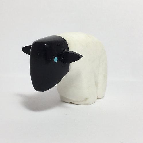 Zuni White Marble Jet Sheep Fetish Micheal Yatsattie