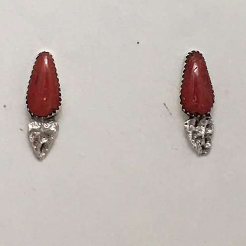 Zuni Sterling Silver Coral Post Earrings