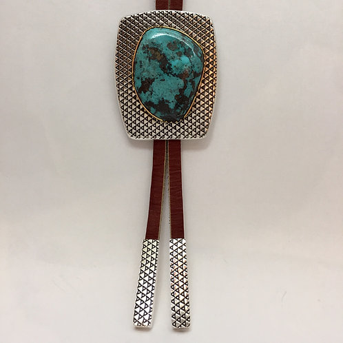 Navajo Sterling Silver 22kt Blue Diamond Turquoise Bolo Tie
