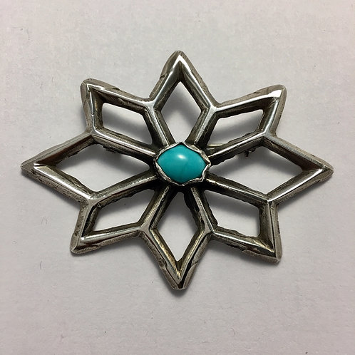 Navajo Sterling Silver Vintage Turquoise Pin Brooch