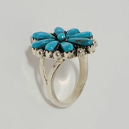 Zuni Sterling Silver Turquoise Ring Bevis Tsadiasi Sz 9