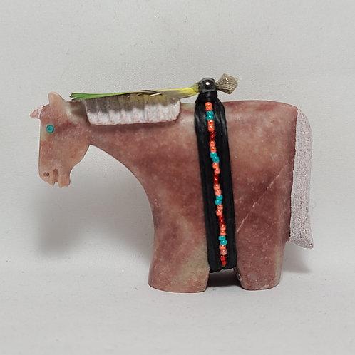 Navajo Alabaster Horse Fetish Harold Davidson Grn & Yell Feathers