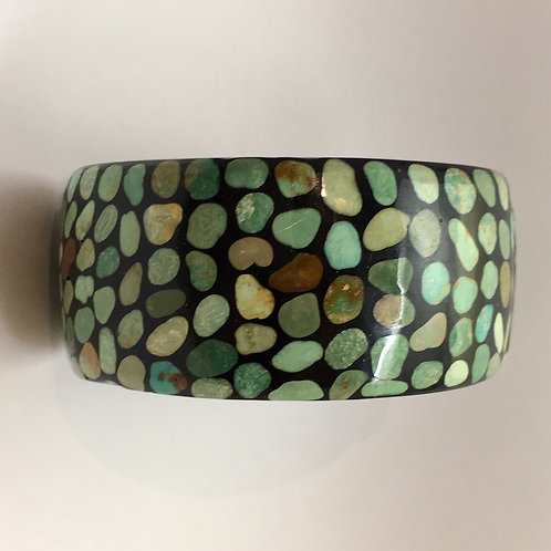Santo Domingo Turquoise Inlay Bangle Bracelet