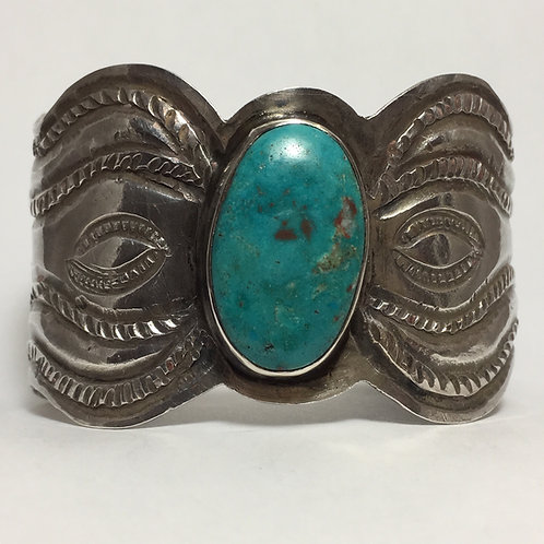 Navajo Sterling Silver Blue Gem Vintage Cuff Bracelet