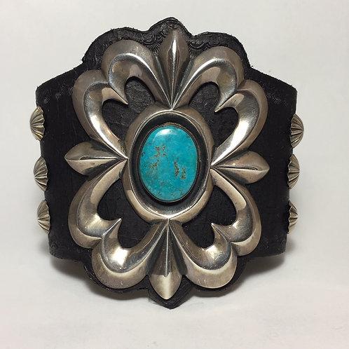 Navajo Sterling Sandcast Blue Gem Vintage Bow Guard Bracelet