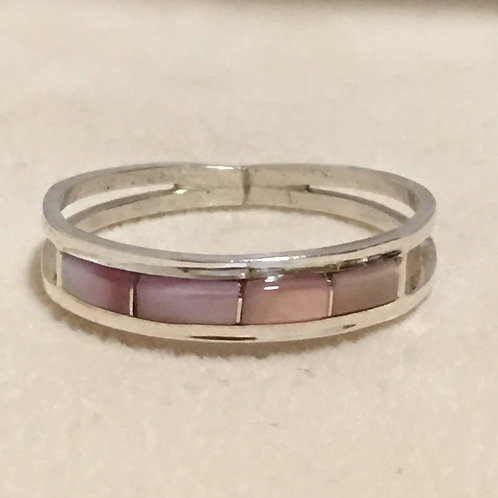 Zuni Sterling Silver Pink Mother of Pearl Ring