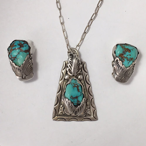 Zuni Sterling Silver Turquoise Vintage Pendant & Earring Clip-On
