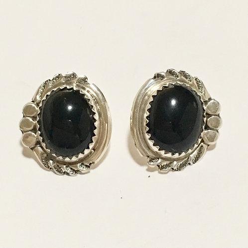 Navajo Sterling Silver Onyx Stop Post Earrings
