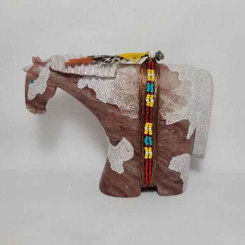 Navajo Alabaster Painted Horse Fetish Harold Davidson