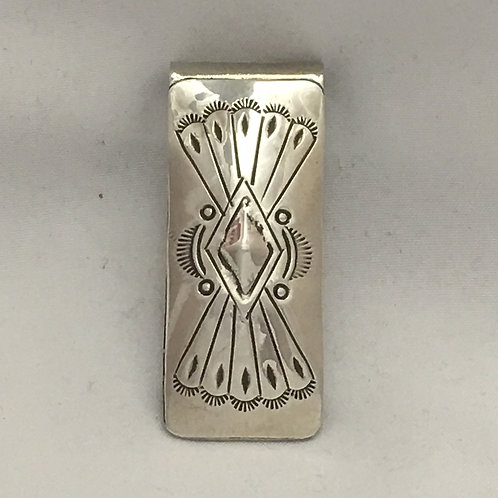 Sterling Silver Repousse Stamp Money Clip
